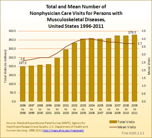 Total and Mean Number of Non-Physician Care Visits for Persons with Musculoskeletal Diseases, United States 1996-2011