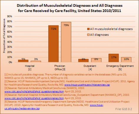 Distribution of Musculoskeletal Diagnoses and All Diagnoses for Care Received by Care Facility, United States 2010/2011