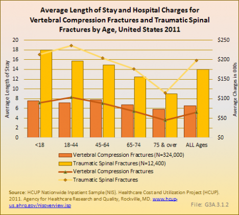 Average Length of Stay and Hospital Charges for Vertebral Compression Fractures and Traumatic Spinal Fractures by Age, United States 2011